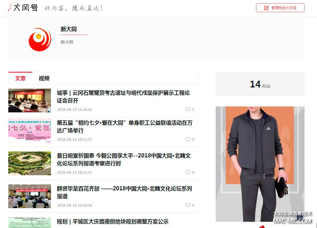 凤凰网新大同大凤号北魏文化论坛报道截图